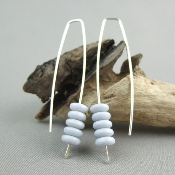 Matte Grey Stacked Czech Glass and Sterling Silver Earrings