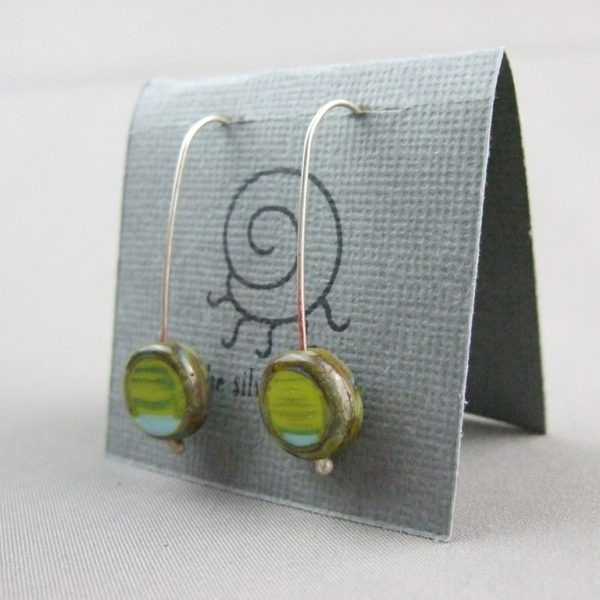 Blue Lime Coin Picasso Earrings