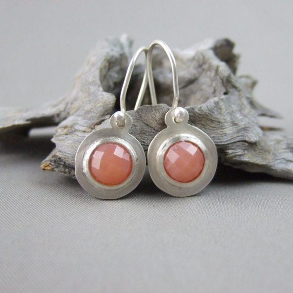 Apricot Agate Gemstone and Sterling Silver Drop Earrings