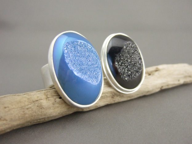 Dark Grey and Baby Blue Drusy Rings