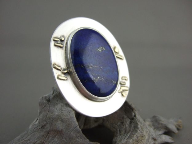 Lapis Lazuli and Sterling Silver Ring with 18ct Gold Detail