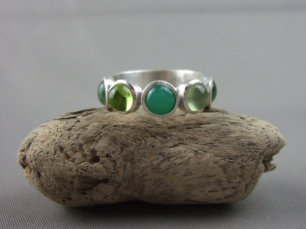 Five Green Gemstones Ring