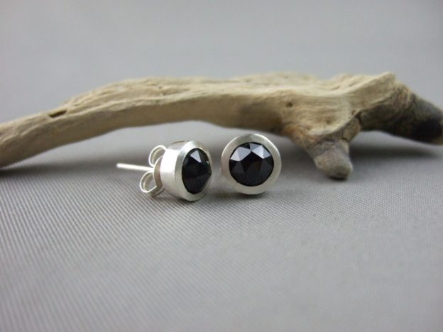 Melanite Garnet and Sterling Silver Stud Earrings