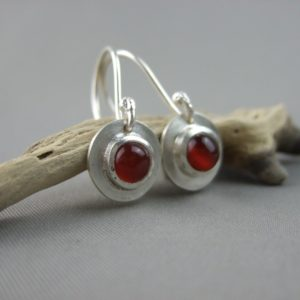 Carnelian Gemstone and Sterling Silver Drop Earrings