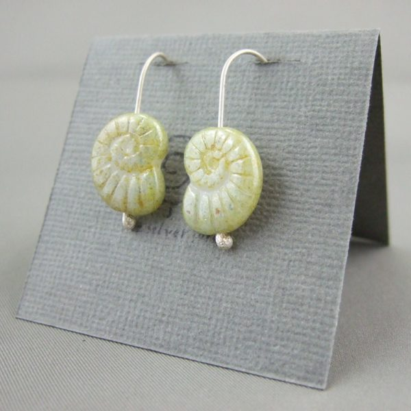 Yellow Green Ammonite Shaped Czech Glass and Sterling Silver Earrings