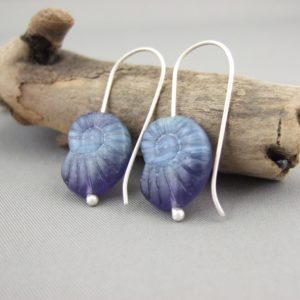 Navy Blue Ammonite Shaped Czech Glass and Sterling Silver Earrings