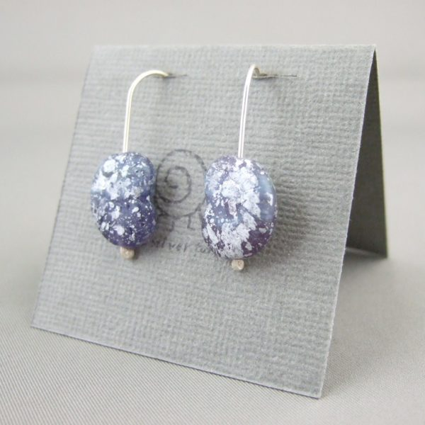 Silvery Blue Ammonite Shaped Czech Glass and Sterling Silver Earrings