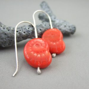 Bright Red Ammonite Shaped Czech Glass and Sterling Silver Earrings