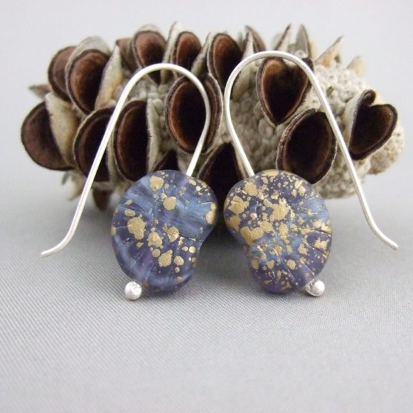 Goldy Blue Ammonite Shaped Czech Glass and Sterling Silver Earrings