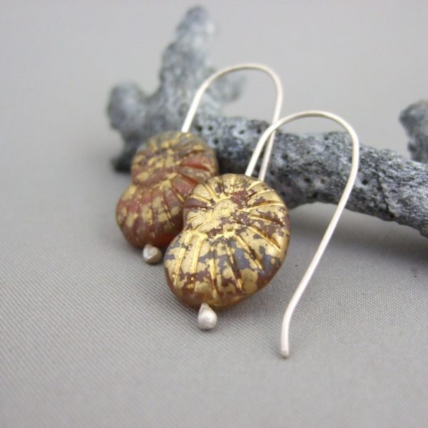 Earthy Gold Ammonite Shaped Czech Glass and Sterling Silver Earrings