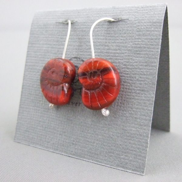 Dark Red Ammonite Shaped Czech Glass and Sterling Silver Earrings