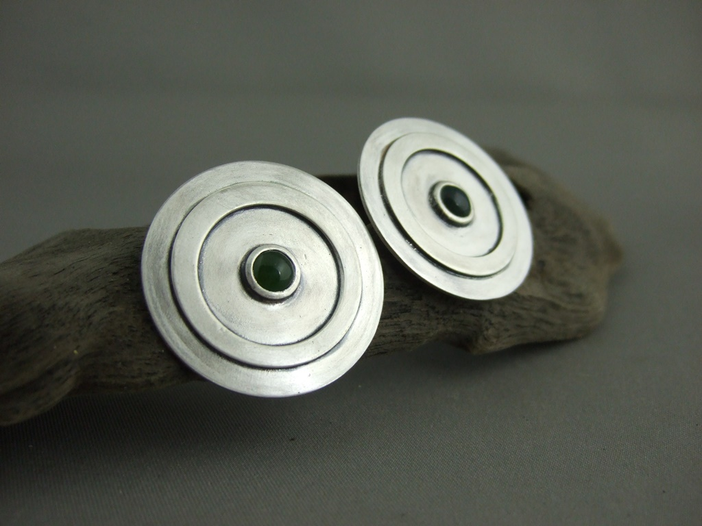 Bloodstone and Jade Sterling Silver Circle Earrings