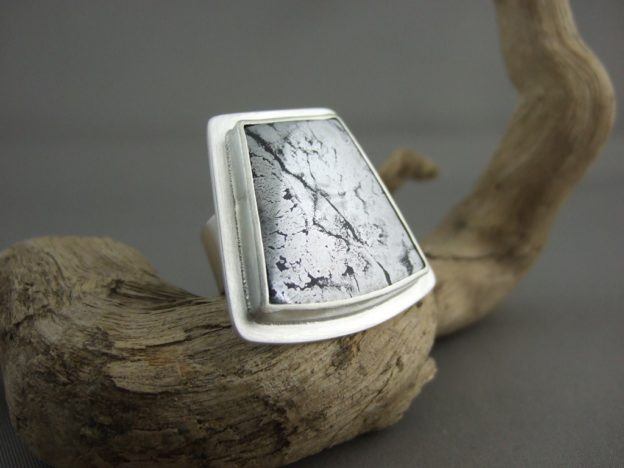 Native Silver in Cobaltite Sterling Silver Ring