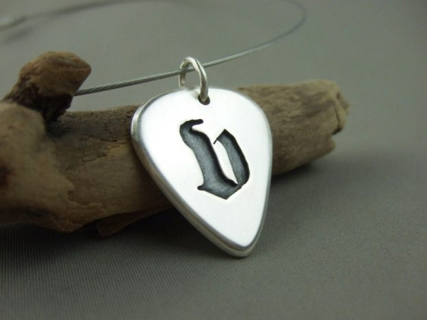 Sterling Silver Guitar Pick Pendant