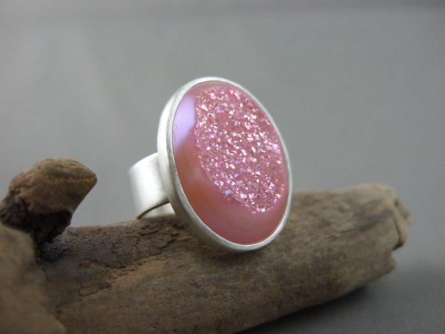 Pale Pink Titanium Coated Drusy Ring