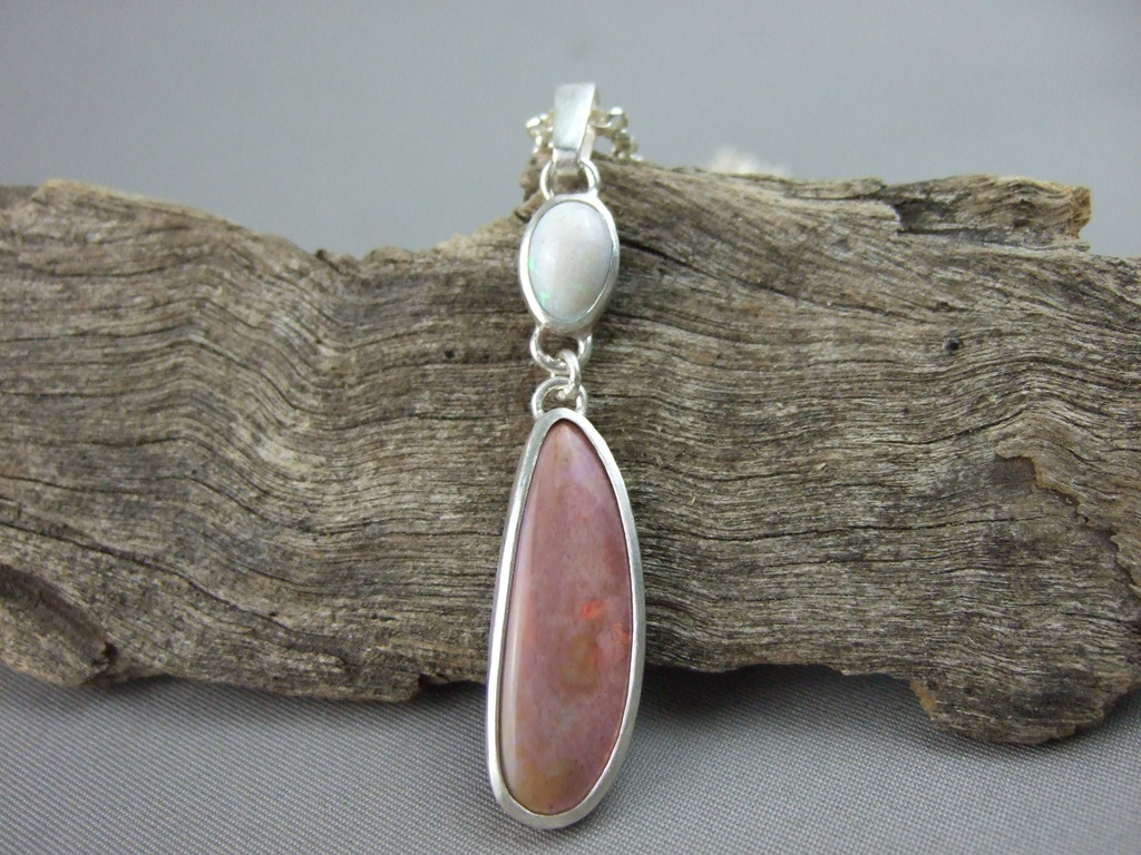 Opal Duo and Sterling Silver Pendant