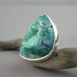 Green Freeform Drusy and Sterling Silver Ring