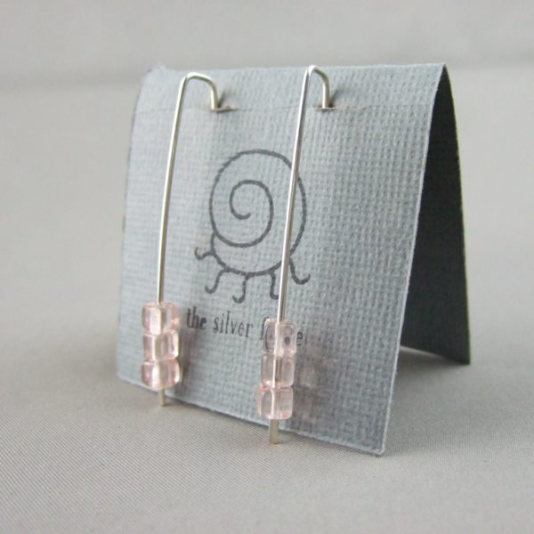 Pale Apricot and Sterling Silver Cube Earrings
