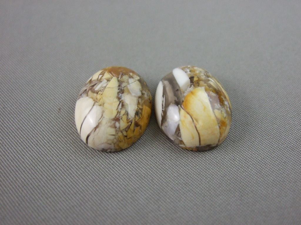 Brecciated Mookaite Oval Cabochon Pair