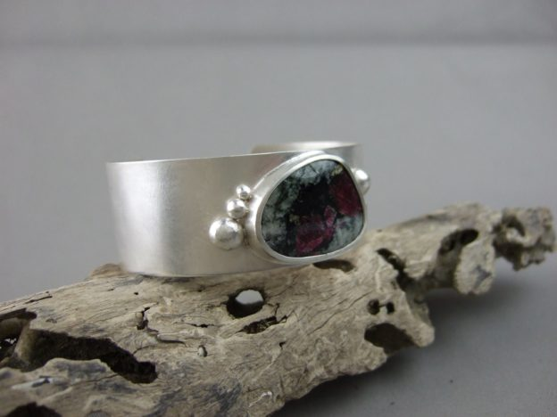 Eudialyte and Sterling Silver Cuff Bangle