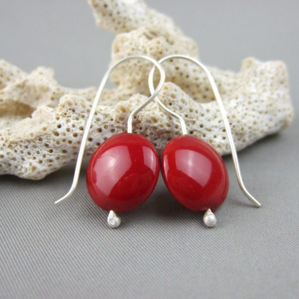 Red Czech Glass Smartie and Sterling Silver Earrings