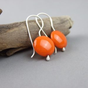 Orange Czech Glass Smartie and Sterling Silver Earrings