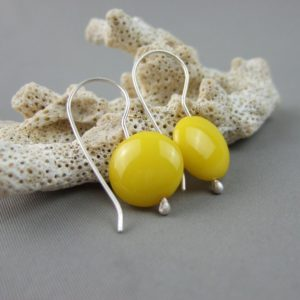 Yellow Czech Glass Smartie and Sterling Silver Earrings
