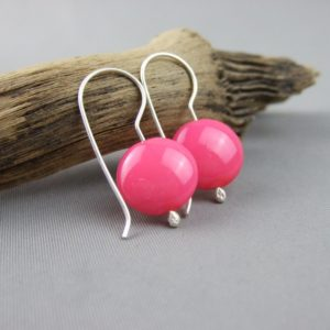 Pink Czech Glass Smartie and Sterling Silver Earrings