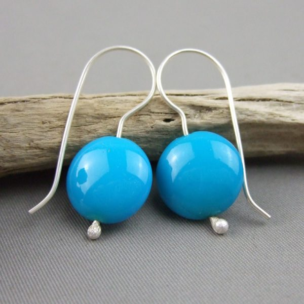 Blue Czech Glass Smartie and Sterling Silver Earrings