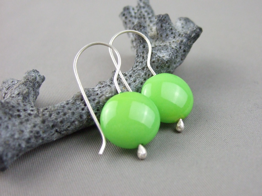 Lime Czech Glass Smartie and Sterling Silver Earrings
