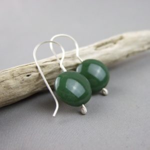 Dark Green Czech Glass Smartie and Sterling Silver Earrings