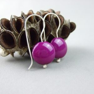Magenta Czech Glass Smartie and Sterling Silver Earrings