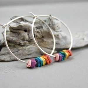 Big Round Rainbow Greek Ceramic and Sterling Silver Hoop Earrings