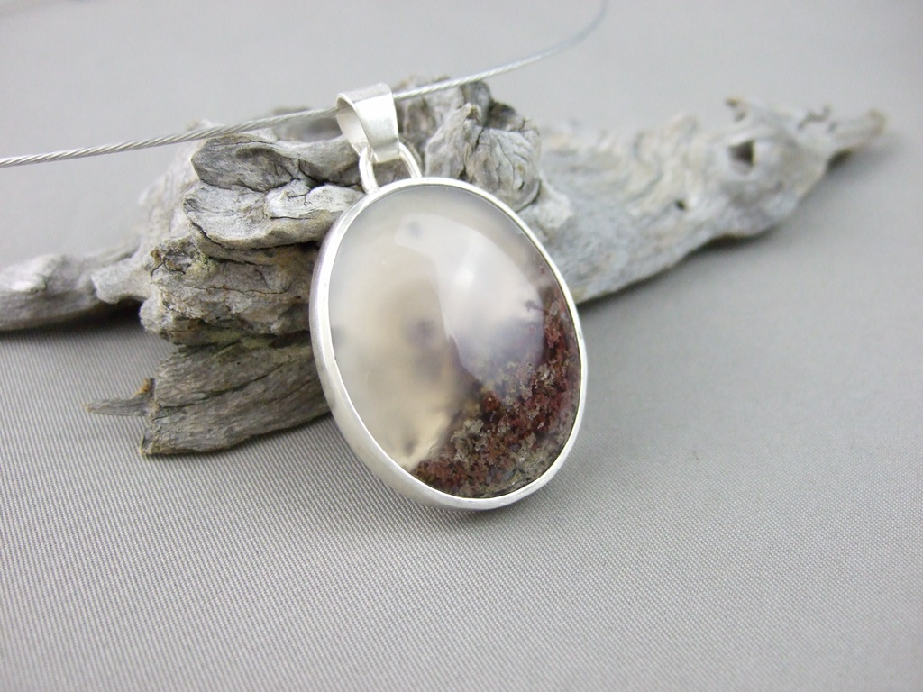 Red Moss Agate and Sterling Silver Pendant