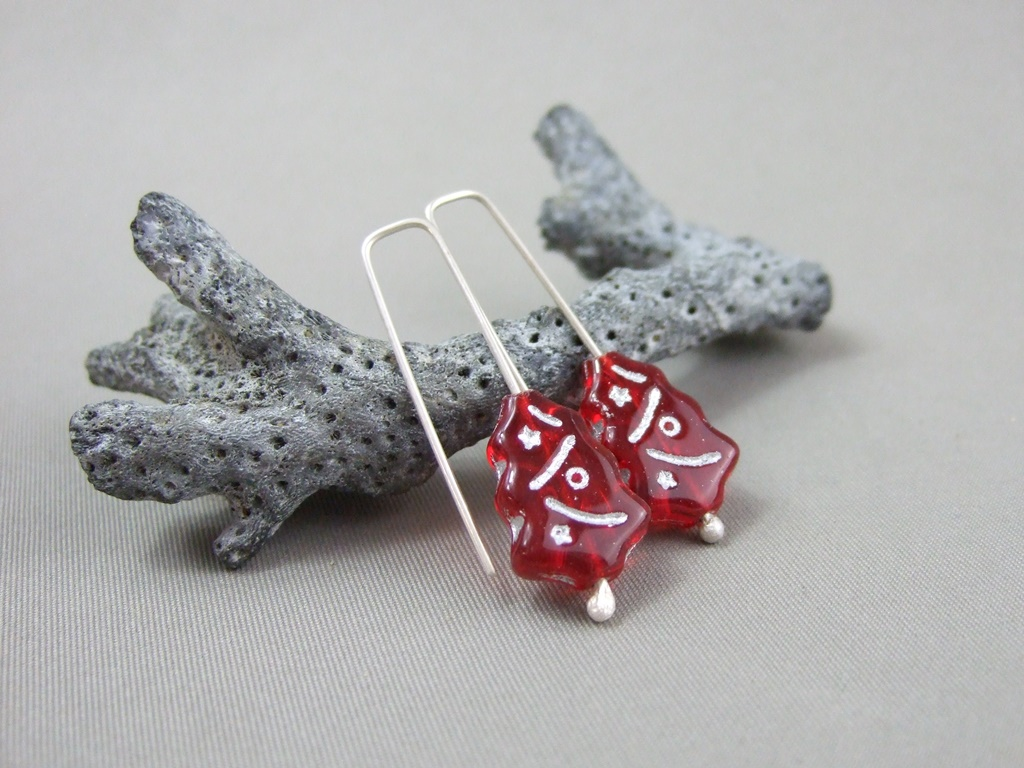 Red Czech Glass Xmas Tree and Sterling Silver Earrings