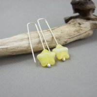 Yellow Czech Glass Star and Sterling Silver Earrings