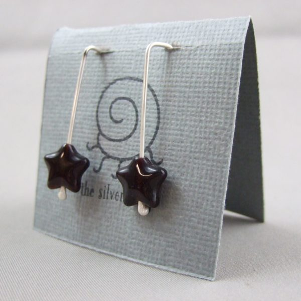 Darkest Red Czech Glass Star and Sterling Silver Earrings