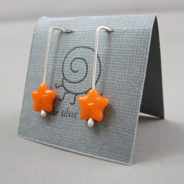 Orange Czech Glass Star and Sterling Silver Earrings