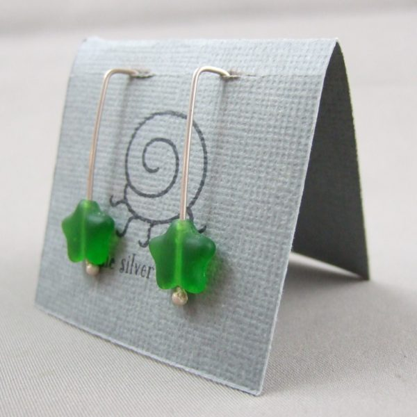 Green Czech Glass Star and Sterling Silver Earrings