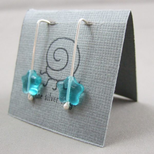 Aqua Czech Glass Star and Sterling Silver Earrings