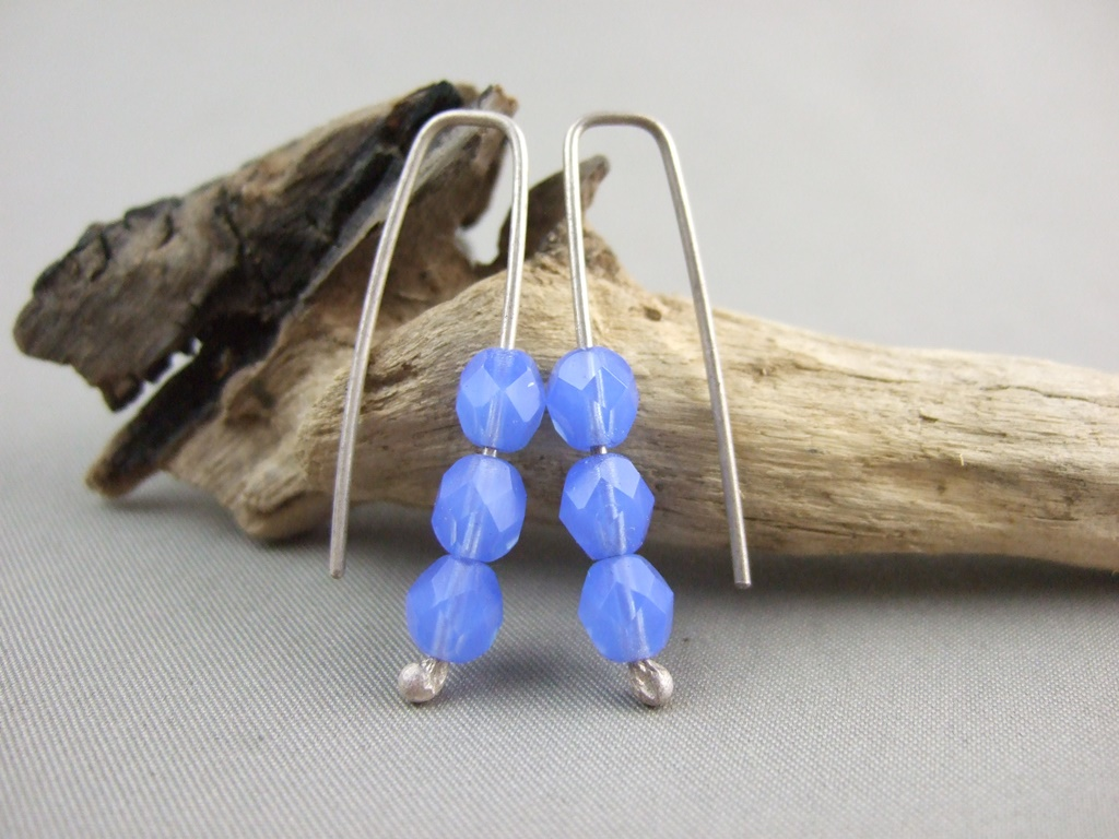 Capri Blue Faceted Czech Glass and Sterling Silver Trio Earrings