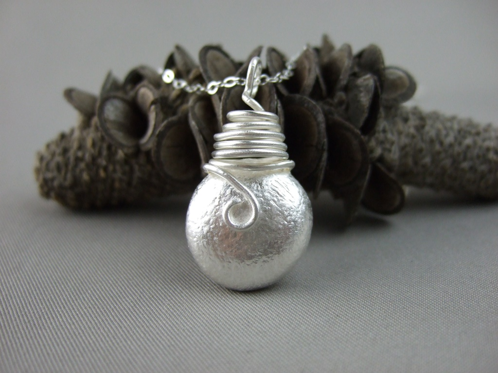 Solid Silver Reticulated Pendant