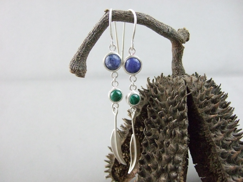 Sodalite and Malachite Sterling Silver Gumleaf Earrings