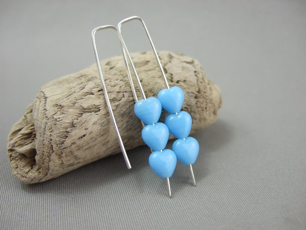 Tiny Sky Blue Czech Glass Heart and Sterling Silver Earrings