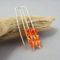 Tiny Orange Czech Glass Heart and Sterling Silver Earrings