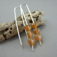 Tiny Sienna Brown Czech Glass Heart and Sterling Silver Earrings