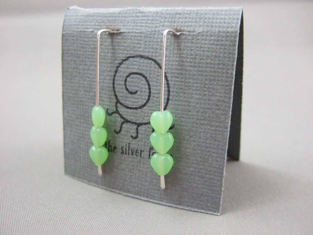 Tiny Pale Green Czech Glass Heart and Sterling Silver Earrings