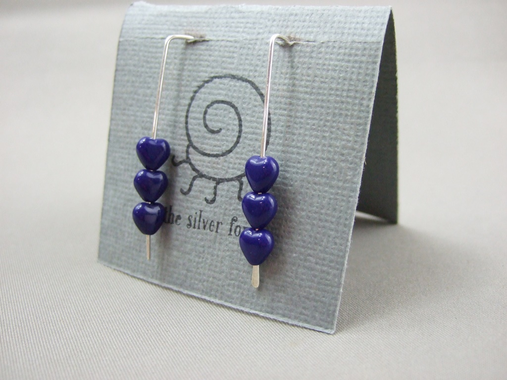 Tiny Navy Blue Czech Glass Heart and Sterling Silver Earrings