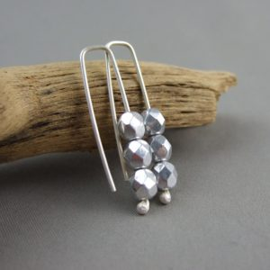 Silver Sparkle Trio Czech Glass and Sterling Silver Earrings