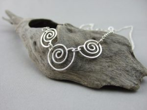 Spiral Seashell Trio Sterling Silver Necklace